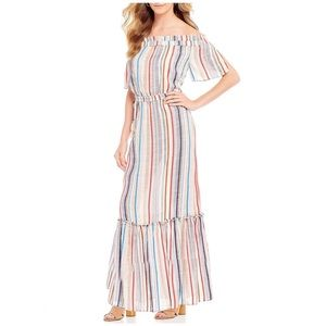 1. State Off The Shoulders Striped Maxi Dress